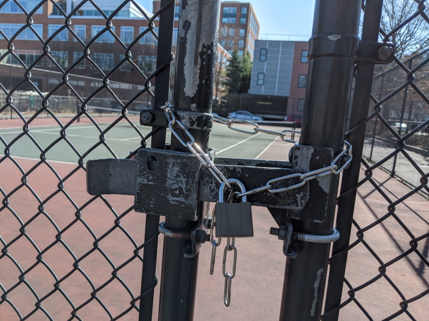 [locked tennis court]